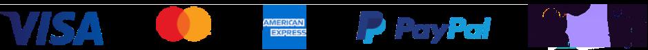Master card, Visa, American Express and PayPal logo
