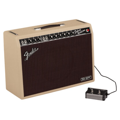 Fender Tone Master Deluxe Reverb Blonde Angle with footswitch